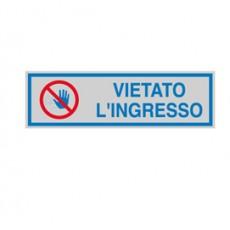 TARGHETTA ADESIVA 165x50mm VIETATO LINGRESSO 96672 - Conf da 10 pz.