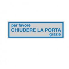 TARGHETTA ADESIVA 165x50mm CHIUDERE LA PORTA 96693 - Conf da 10 pz.