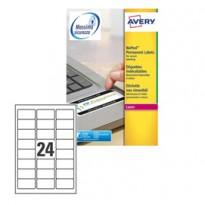 Poliestere adesivo L6146 bianco antim. 20fg A4 63,5x33,9mm (24et/fg) laser Avery L6146-20