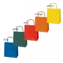 Blister 25 shoppers carta kraft 18x8x24cm twisted colori assortiti 079894