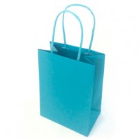 25 shoppers carta kraft 14x9x20cm twisted turchese 079788