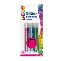 Blister glitter 3 flaconi grana fine 12ml colori assortiti olografici Cwr 11592