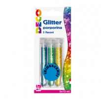 Blister glitter 3 flaconi grana fine 12ml colori assortiti iridescenti Cwr 11593