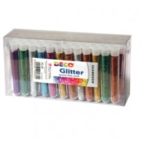 Glitter 50 flaconi grana fine 12ml colori assortiti Cwr 130/50