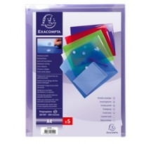 Busta a tasca con velcro in pp colorato f.to 24x32cm per A4 Exacompta 56420E - Conf da 5 pz.
