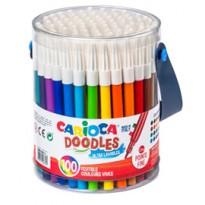 Barattolo 100 pennarelli fine Doodle colori assortiti Carioca 40043
