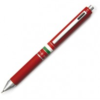 Penna sfera scatto multifunzione QUADRA fusto rosso gommato Italia OSAMA OD 1024ITG/1 R