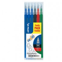 Set 6 refill FRIXIONball 0.7mm 3 blu,1 nero, 1 rosso, 1 verde PILOT 006649