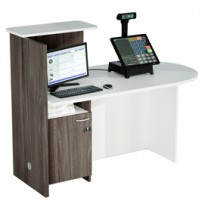 Postazione Reception Concept DX L143 x P83 x H117cm bianco/frass.tosc. 17110/DX_3F