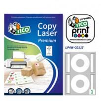 Etichetta adesiva LP4W bianca opaca A4 100fg CD 117mm (2et/fg) laser Tico LP4W-CD117