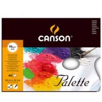 Blocco tavolozza collato 2 lati CANSON 24x32 cm 40 fg. 95 gr. Canson 400039077 - Conf da 5 pz.