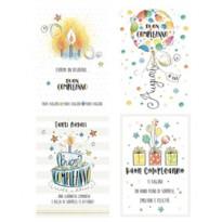 Biglietto Buon Compleanno c/rifiniture glitter tema generico Kartos 07549902 - Conf da 12 pz.