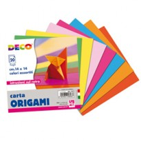 Confezione 20 fogli carta per origami 14x14cm colori assortiti CWR 741 - Conf da 25 pz.