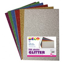 Busta 10 fogli 20x30cm Gomma Crepp Glitter adesiva colori assortiti CWR 10401