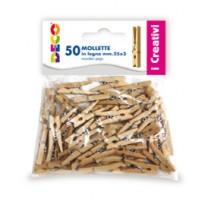 Confezione 50 mollettine in legno 25mm colore naturale CWR 11687