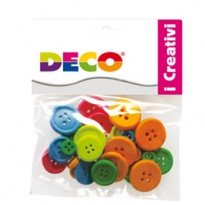 Confezione 30 bottoni in legno colori neon CWR 12027