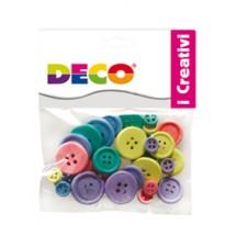 Confezione 30 bottoni in legno colori pastello CWR 12028