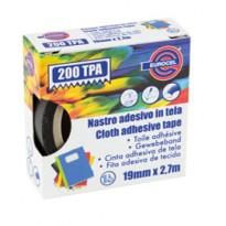Nastro adesivo telato TPA nero 200 19mmx2,7mt Eurocel 016714194