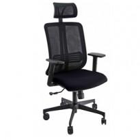 Poltrona ergonomica Vertigo Nero/Nero No FLAME con poggiatesta e braccioli VRAPG/BR2B/SN/N