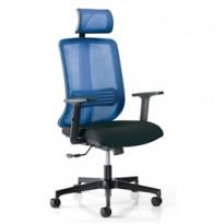 Poltrona ergonomica Vertigo Blu/Nero No FLAME con poggiatesta e braccioli VRAPGM/BR2D/SB