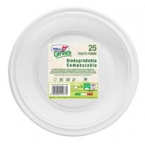 25 Piatti fondi 220mm BIODEGRADABILI Mater-bi Dopla Green art. 40004 40004