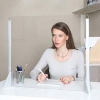 Schermo protettivo da scrivania SENZA feritoia H56xL66cm in acrilico grigio all. 5020/1 alluminio