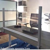 Schermo protettivo da scrivania H60xL102cm con morsetto alluminio silver PTA3-105
