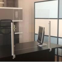 Schermo protettivo da scrivania Slim H65xL107cm con morsetto alluminio silver 1605056