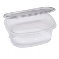 Pack 50 contenitori ovali in PET con coperchio incernierato 22,5x19,2cm Cuki 1507520001