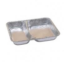 Pack 100 contenitori in alluminio a due scomparti 22,67x17,66cm Cuki 172412263