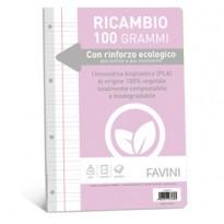 Ricambi c/rinforzo ecologico f.to A4 100gr 40fg rigo di 1a Favini A471404