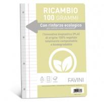 Ricambi c/rinforzo ecologico f.to A4 100gr 40fg 1 rigo c/margine Favini A476404