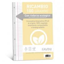 Ricambi c/rinforzo ecologico f.to A4 100gr 40fg 5mm c/margine Favini A475414