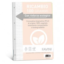 Ricambi c/rinforzo ecologico f.to A4 100gr 40fg 5mm Favini A475404