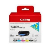 CONF. MULTIPACK CARTUCCIA INCHIOSTRO PGI-550/CLI-551 PGBK/C/M/Y/BK/GY 6496B005