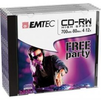 CD-RW EMTEC RW 80MIN/700MB 4-12x JEWEL CASE (kit 5pz) ECOCRW80512JC