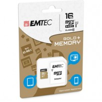 MICRO SDHC EMTEC 16GB CLASS 10 GOLD PLUS CON ADATTATORE ECMSDM16GHC10GP